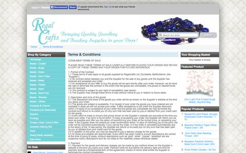 Screenshot of Terms Page regalcrafts.com - Terms & Conditions - Regalcrafts UK- Online jewellery making and beading supplies - captured Oct. 7, 2014