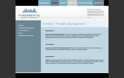 Screenshot of Pricing Page fundamentalpropertymanagement.com - Pricing || Fundamental Property Management - captured Oct. 6, 2014