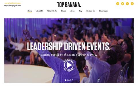 Screenshot of Home Page top-b.com - Leadership Driven Events - Top Banana - Home - captured Feb. 16, 2016