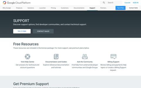 Screenshot of Support Page google.com - Google Cloud Support Services | Google Cloud Platform - captured Jan. 5, 2017