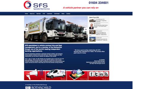 Screenshot of Home Page sfs.co.uk - SFS Specialist Fleet Services - Municipal Vehicle Contract Hire - captured Oct. 6, 2014
