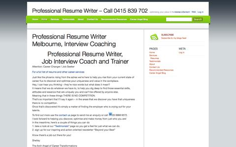 Screenshot of Home Page careerangel.com.au - Resumes, Cover Letters. Selection Criteria Address. Interview Coaching, Melbourne - captured Jan. 23, 2015