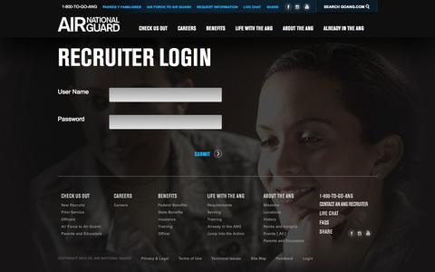 Screenshot of Login Page goang.com - Recruiter Login | Air National Guard - captured Sept. 23, 2014