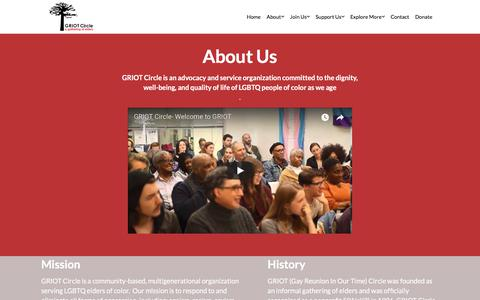 Screenshot of About Page griotcircle.org - Learn About Us – Griot Circle - captured Sept. 20, 2017