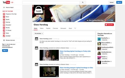 Screenshot of YouTube Page youtube.com - Glass Handbag  - YouTube - captured Oct. 28, 2014