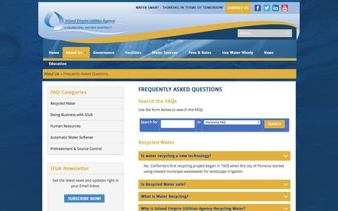 Screenshot of FAQ Page ieua.org - Frequently Asked Questions | Inland Empire Utilities Agency - captured Nov. 26, 2016