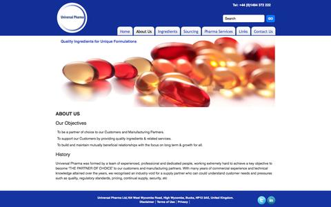 Screenshot of About Page universalpharma.co.uk - About Us - captured Oct. 26, 2014