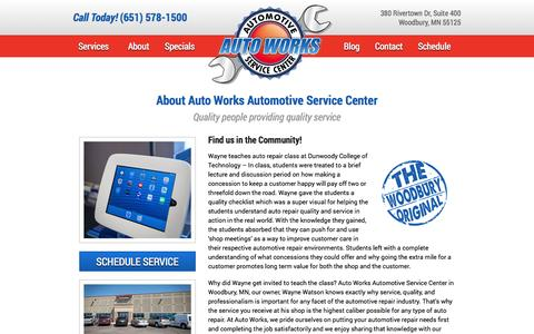 Screenshot of About Page autoworksmn.com - Auto Works   Woodbury, MN   Auto Repair - captured Nov. 2, 2014