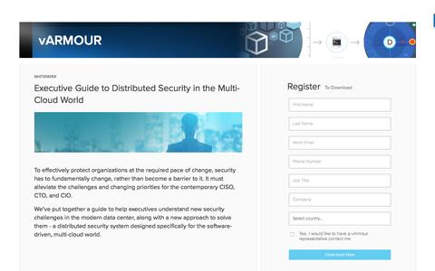 Screenshot of Landing Page varmour.com - Executive Guide to Distributed Security in the Multi-Cloud World - captured April 7, 2017