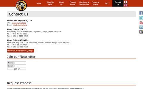 Screenshot of Contact Page Locations Page drumcafe.jp - DrumCafe :: Contact Us :: Team Building Activities & Conference Ideas - captured Oct. 5, 2014