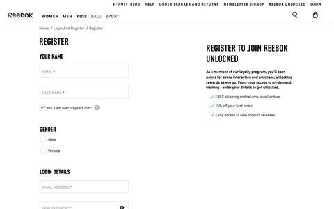 Screenshot of Signup Page reebok.com - Reebok Footwear & Apparel - Be More Human - captured Nov. 2, 2019
