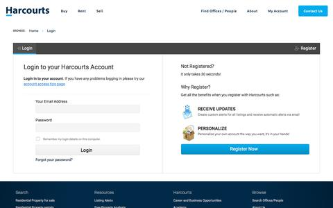 Screenshot of Login Page harcourtsusa.com - Log In to Harcourts - captured Oct. 7, 2019