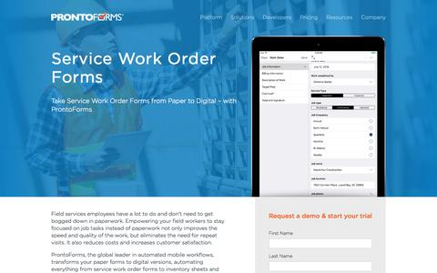 Service Work Order Forms | ProntoForms