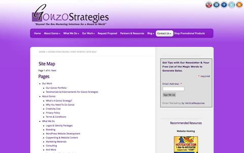 Screenshot of Site Map Page gonzostrategies.com - Gonzo Strategies | Fort Worth | Site Map|Gonzo Strategies - captured Sept. 30, 2014