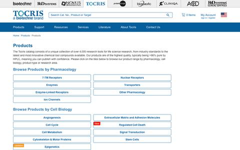 Screenshot of Products Page tocris.com - Browse the Tocris Product Range by Pharmacological Activity | Tocris Bioscience - captured Sept. 22, 2018
