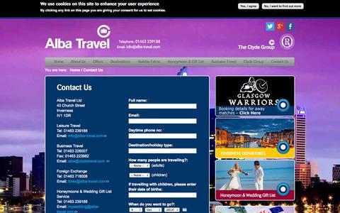 Screenshot of Contact Page alba-travel.com - Contact Us   Alba Travel - captured Oct. 4, 2014