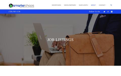 Screenshot of Jobs Page smarterchaos.com - Careers | SmarterChaos - captured May 25, 2018