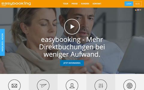 Screenshot of Home Page easybooking.at - easybooking - Ihr Vertriebsprofi für Unterkunftsbetriebeeasybooking - captured Sept. 24, 2015