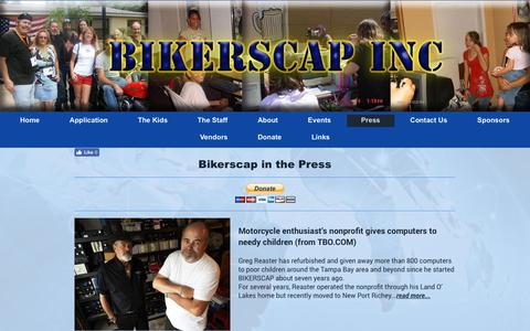 Screenshot of Press Page bikerscap.org - BIKERSCAP Inc. - Press - captured Oct. 10, 2017