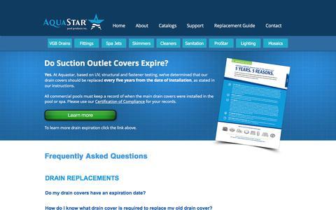 Screenshot of FAQ Page aquastarpoolproducts.com - AquaStar Pool Products   FAQ - captured July 30, 2018