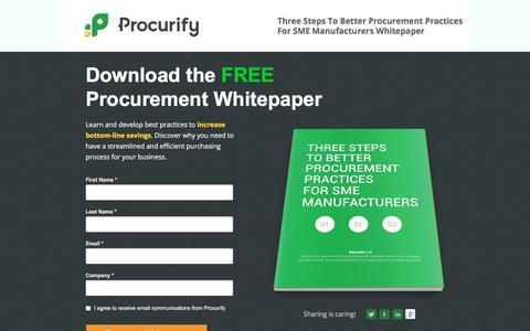 Screenshot of Landing Page procurify.com - Better Procurement Practices Whitepaper Download - captured March 1, 2018