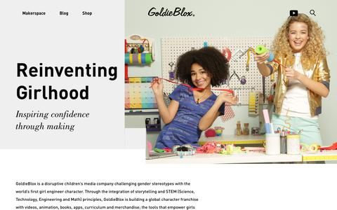 Screenshot of About Page goldieblox.com - About | GoldieBlox | Official Site - captured Sept. 29, 2018
