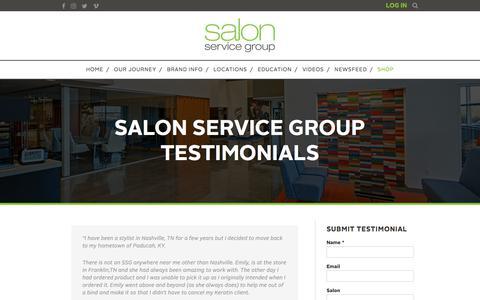 Screenshot of Testimonials Page salonservicegroup.com - Salon Service Group Testimonials - Salon Service Group - captured July 27, 2018