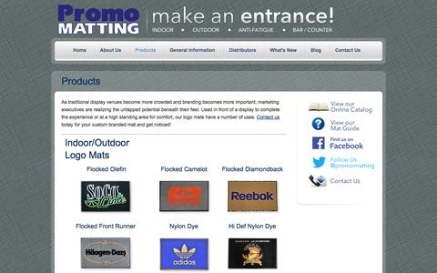 Screenshot of Products Page promomatting.com - PromoMatting | Custom branded mats | Marketing products - captured Sept. 24, 2014