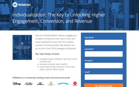 Screenshot of Landing Page reflektion.com - Individualization: The Key to Unlocking Higher Engagement, Conversion, and Revenue - captured Oct. 20, 2016