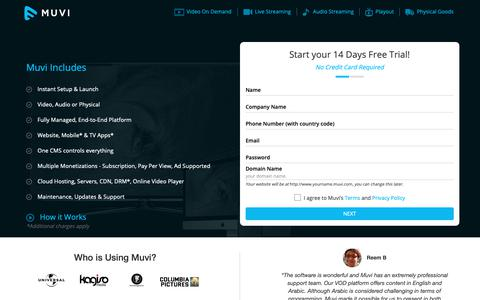 Screenshot of Trial Page muvi.com - Launch your Audio / Video Streaming Platform Instantly, signup for 14 days free trial - Muvi - captured Oct. 7, 2018