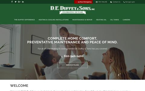 Screenshot of Home Page deduffey.com - Your Trusted Partner In Home Comfort Since 1898 - captured Aug. 4, 2018