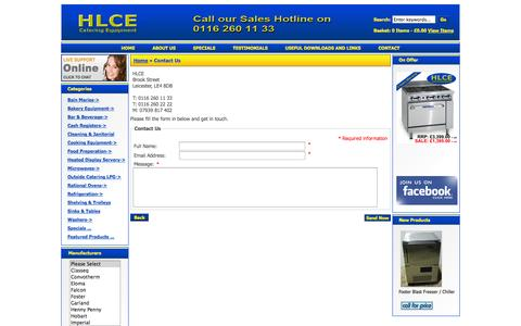 Screenshot of Contact Page hlce.co.uk - Contact Us : HLCE Catering Equipment, Complete Catering Equipment Specialist - captured Oct. 28, 2014