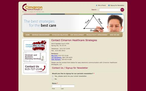Screenshot of Contact Page cimarronhealth.com - CONTACT - Cimarron Healthcare Strategies - Healthcare Management Consulting - captured Oct. 2, 2014