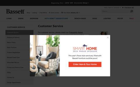 Screenshot of Support Page bassettfurniture.com - Bassett Furniture | Customer Service - captured May 18, 2019
