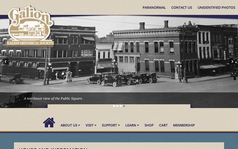 Screenshot of Contact Page Hours Page galionhistory.com - Hours and Information – Galion Historical Society - captured Feb. 21, 2018