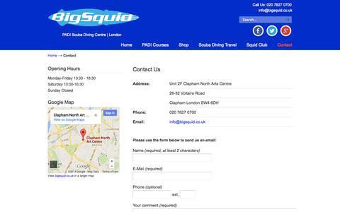 Screenshot of Contact Page bigsquid.co.uk - Contact - Big Squid Scuba Diving Centre - London - captured Oct. 27, 2014