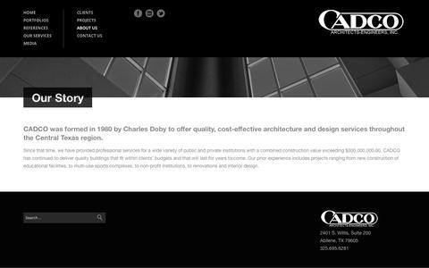 Screenshot of About Page cadcoae.com - Our Story - CADCO - captured Dec. 13, 2018
