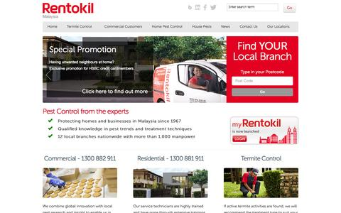 Screenshot of Home Page rentokil.com.my - Commercial & Residential Pest Services | Rentokil Pest Control Malaysia - captured Oct. 7, 2014