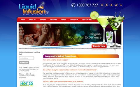 Screenshot of FAQ Page liquidinfusion.com.au - Liquid Infusion : FAQs - captured Oct. 2, 2014