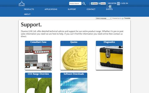 Screenshot of Support Page duomo.co.uk - Duomo (UK) Ltd. - Technical Support - captured Oct. 10, 2014