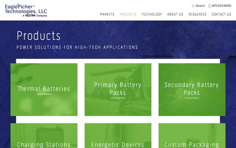Screenshot of Products Page eaglepicher.com - Products | EaglePicher Technologies, LLC - captured Oct. 22, 2017
