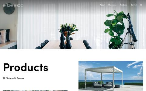 Screenshot of Products Page abesco.com.au - Range | A'besco's range of internal and external window furnishings - captured Oct. 1, 2018
