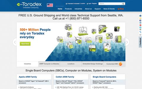 Screenshot of Home Page toradex.com - Single Board Computers (SBCs), Computer on Modules, System on Modules - captured Jan. 22, 2015