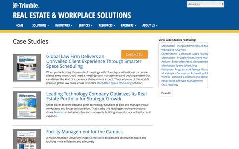 Screenshot of Case Studies Page trimble.com - Case Studies   Real Estate & Workplace Solutions - captured July 23, 2016