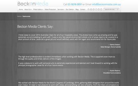 Screenshot of Testimonials Page beckonmedia.com.au - Testimonials | Beckon Media - captured Sept. 30, 2014