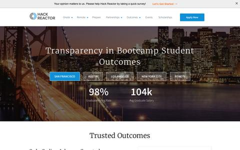 Student Outcomes - 98% hiring rate   Hack Reactor