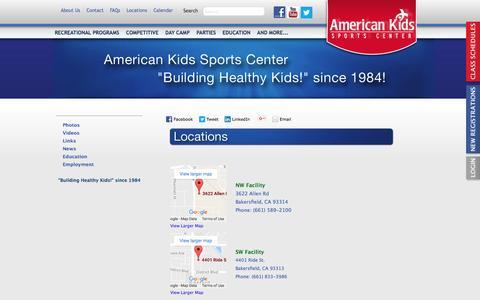 Screenshot of Locations Page aksc.com - American Kids Sports Center - captured Nov. 20, 2016