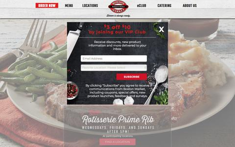 Screenshot of Home Page bostonmarket.com - Rotisserie Chicken & Local Catering | Boston Market - captured Aug. 3, 2018