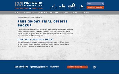 Screenshot of Login Page networknavigators.net - Free 30-day Trial Offsite Backup - Network Navigators - captured Oct. 26, 2014