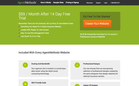 Screenshot of Pricing Page agentmethods.com - Insurance Website Pricing and Signup   | AgentMethods - captured Oct. 4, 2014